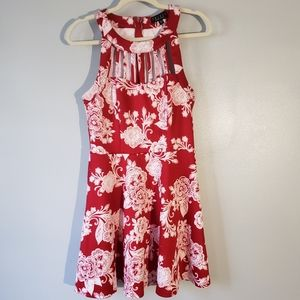 ⭐Trixxi red & white floral fit & flare mini dress⭐